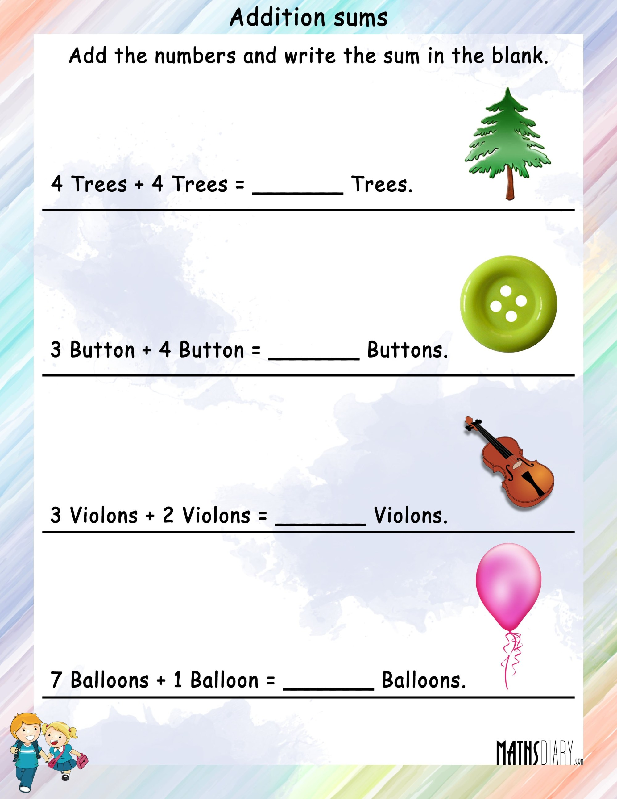 hight resolution of Adding objects - Math Worksheets - MathsDiary.com