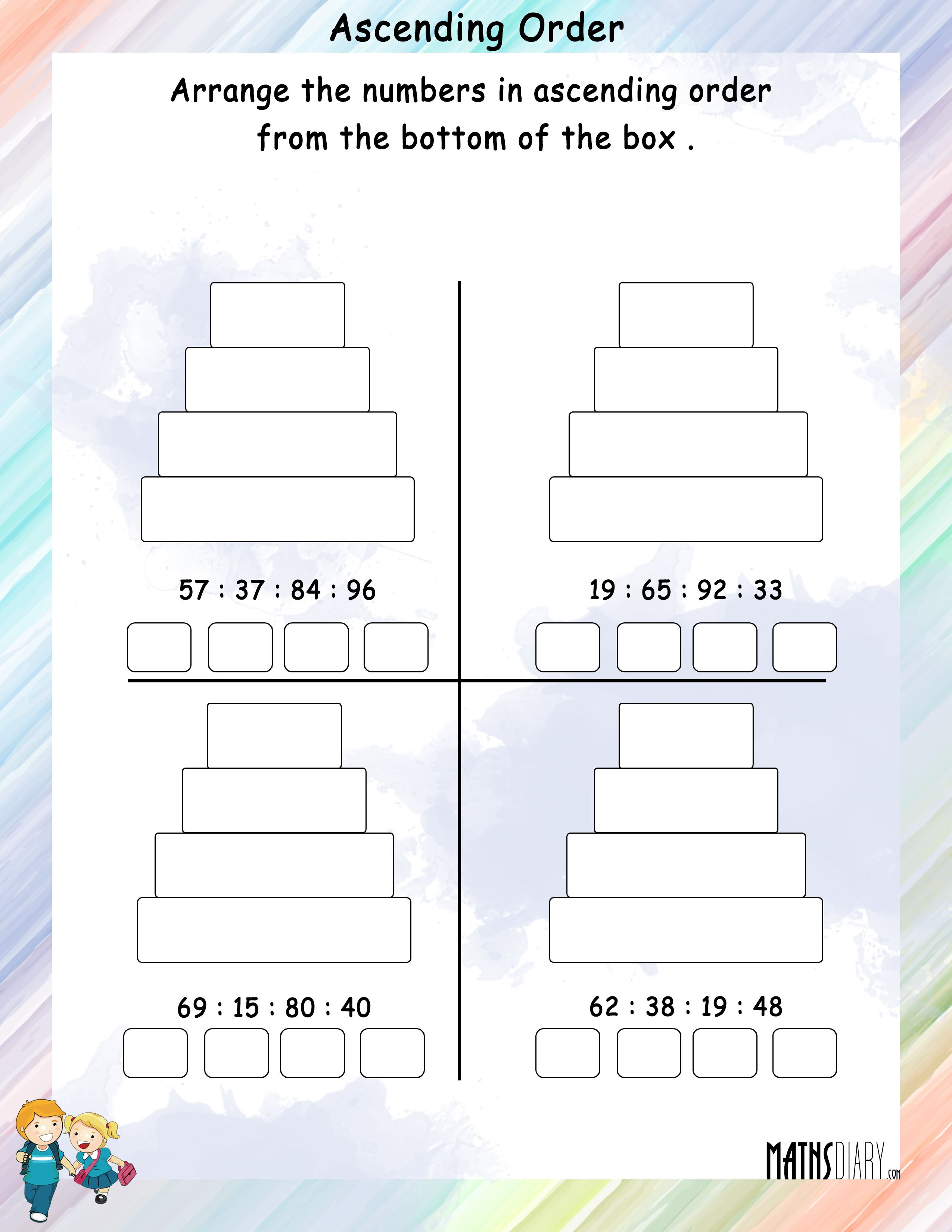 Ascending Descending Order Grade 1 Math Worksheets