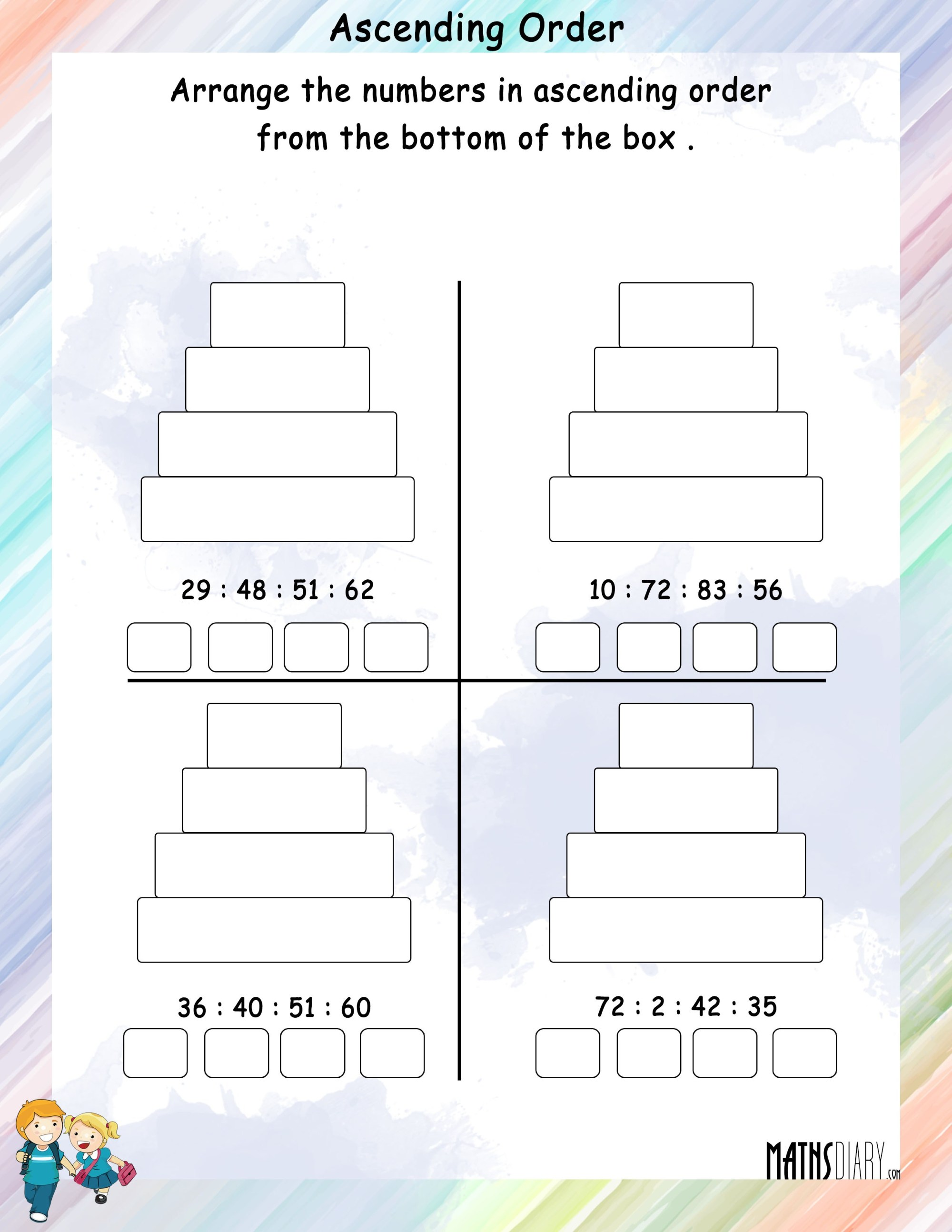 hight resolution of Arrange numbers in Ascending Order in boxes - Math Worksheets -  MathsDiary.com