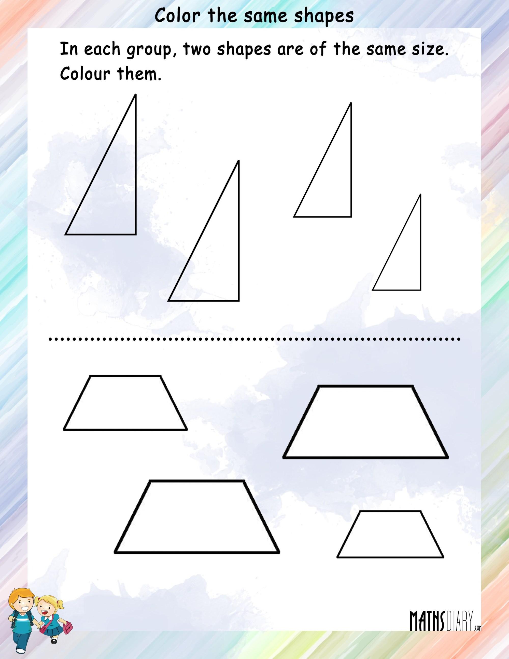hight resolution of Shapes – Grade 1 Math Worksheets