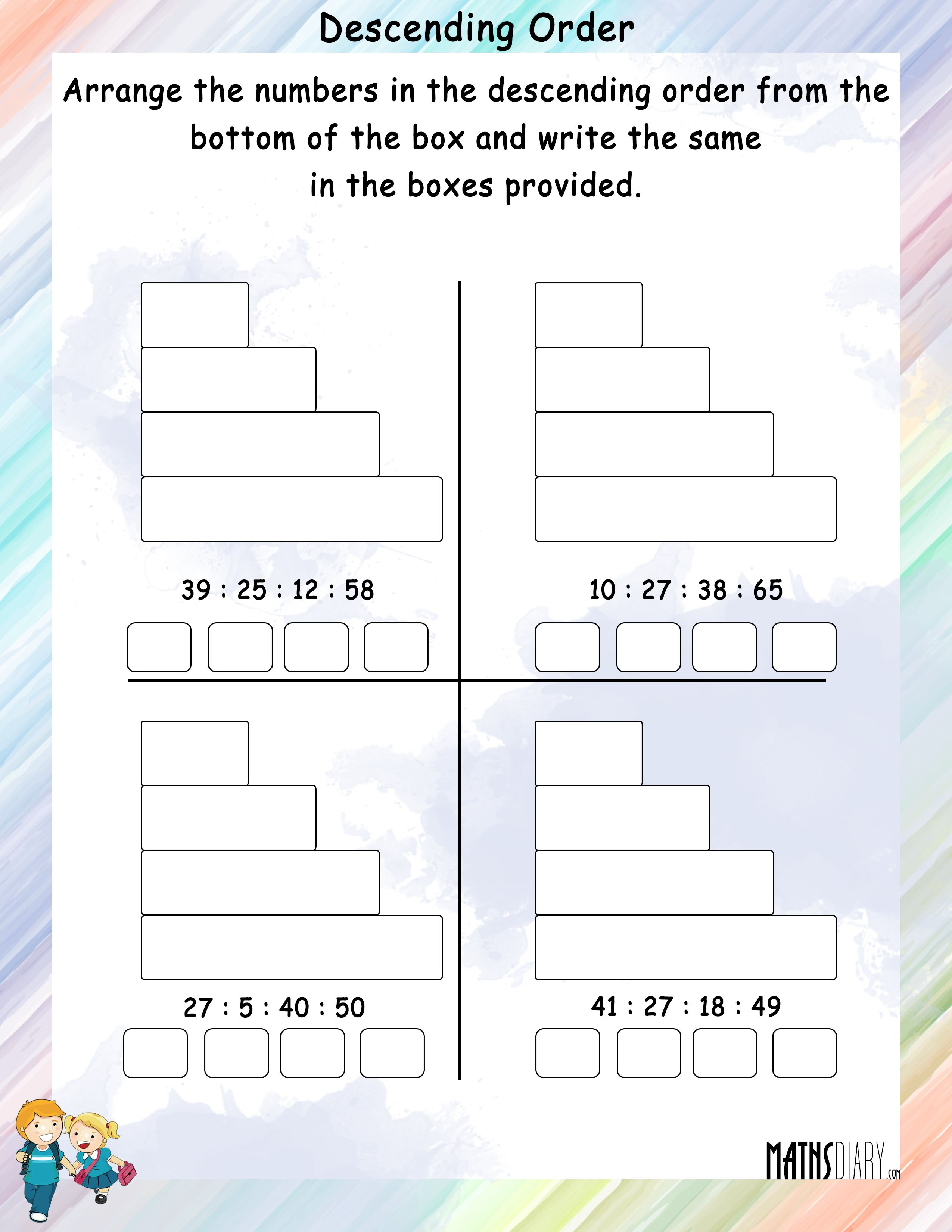 Increasing Decreasing Order Grade 1 Math Worksheets