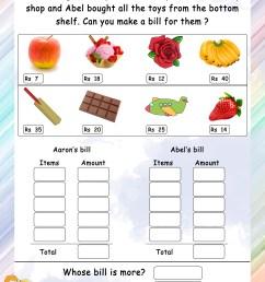 Make a bill - Math Worksheets - MathsDiary.com [ 3300 x 2550 Pixel ]