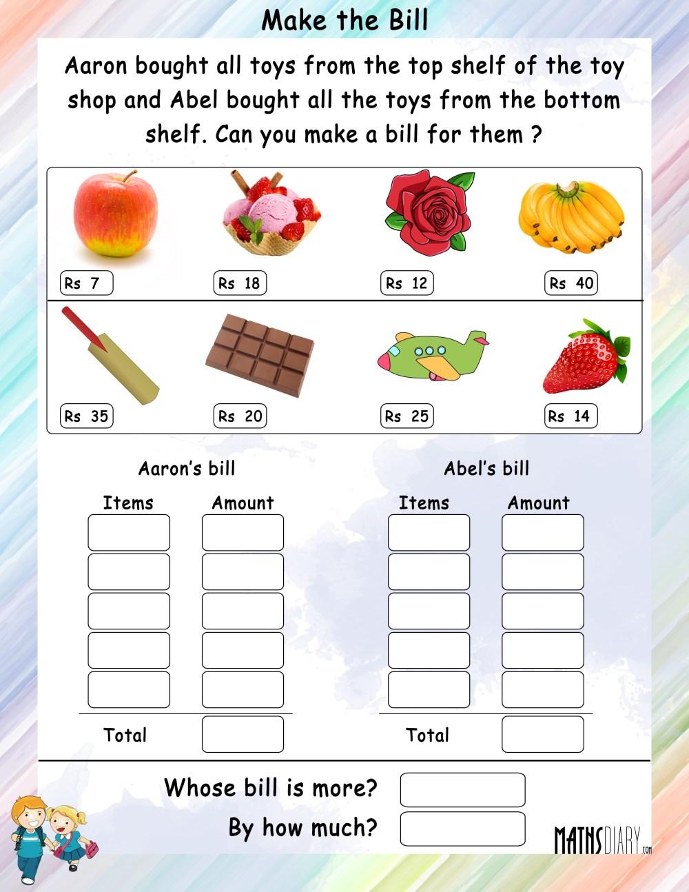 medium resolution of Make a bill - Math Worksheets - MathsDiary.com