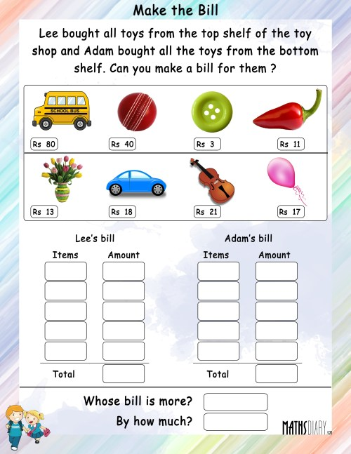 small resolution of Mental Maths – Grade 2 Math Worksheets - Page 2
