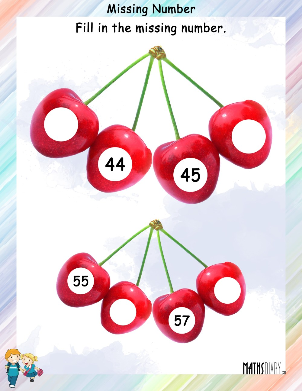 medium resolution of Find the missing numbers in the given counting - Math Worksheets -  MathsDiary.com