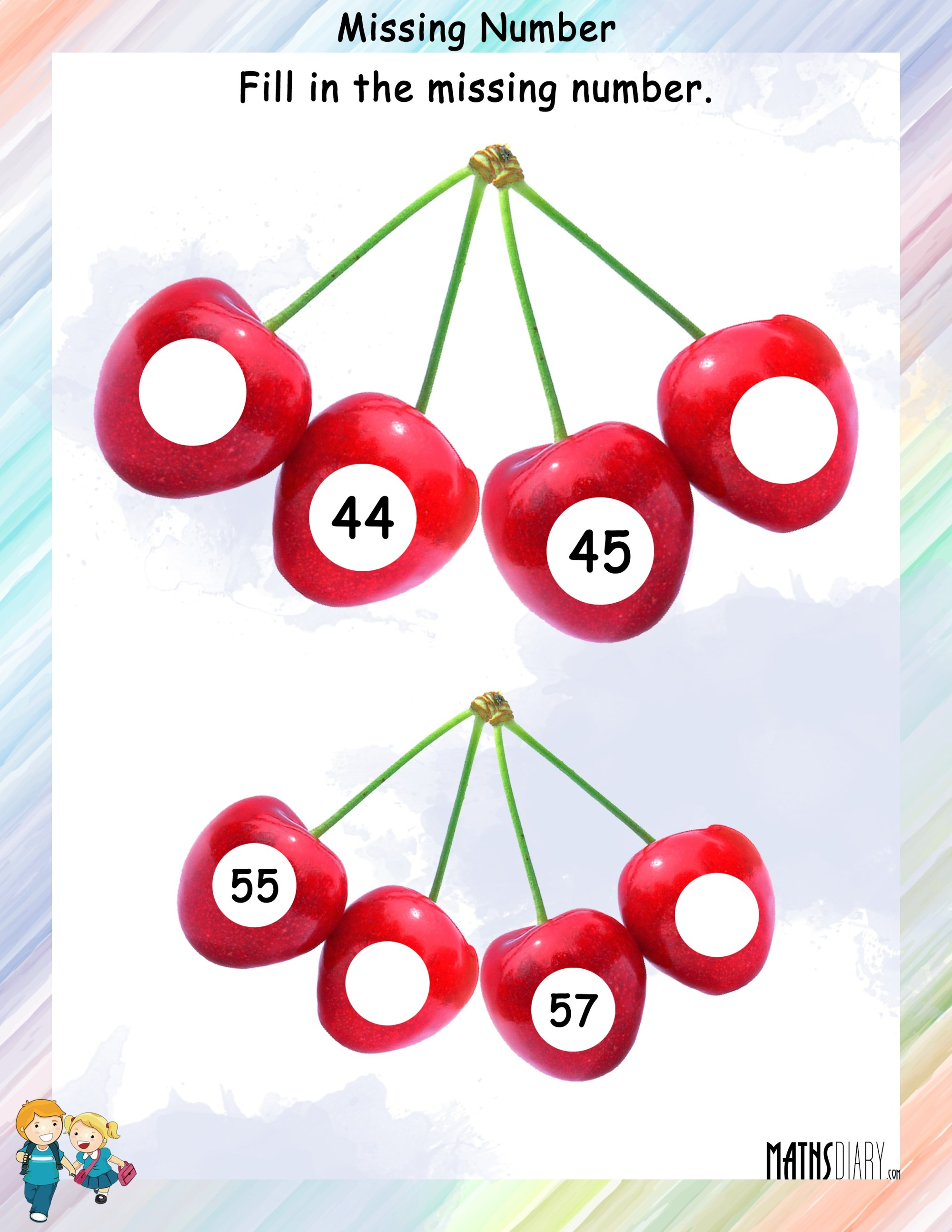 hight resolution of Find the missing numbers in the given counting - Math Worksheets -  MathsDiary.com