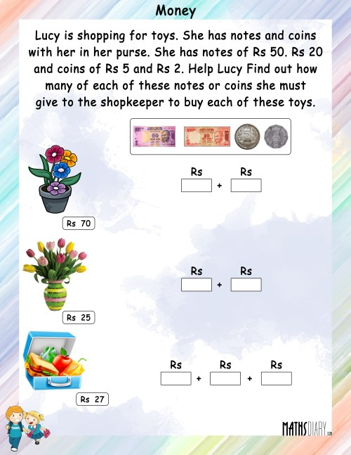 small resolution of Money - Math Worksheets - MathsDiary.com