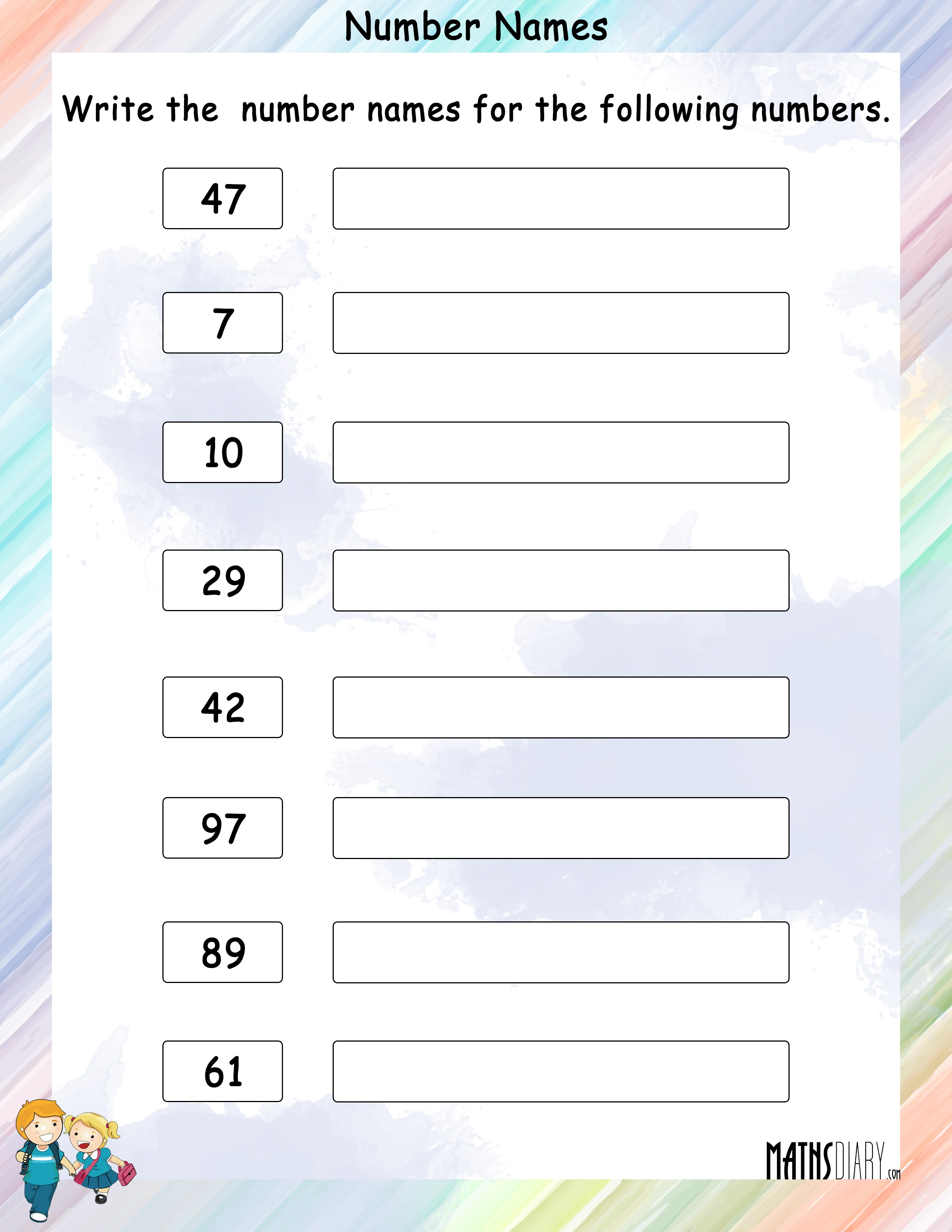 Write Number Names For Given Numbers
