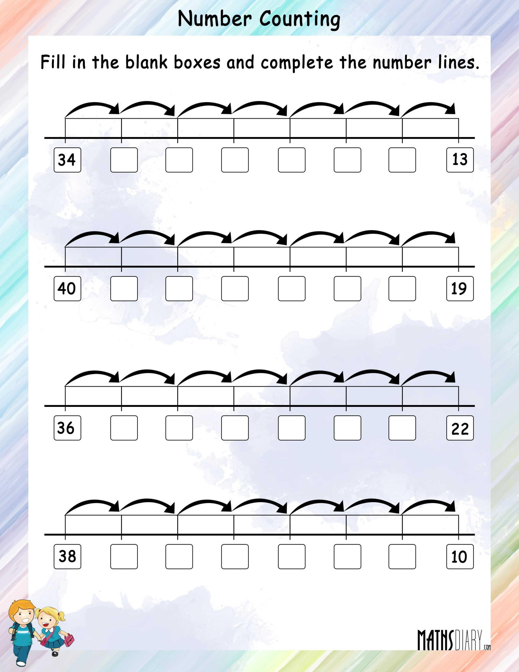 hight resolution of Number Pattern on a Number Line - Math Worksheets - MathsDiary.com
