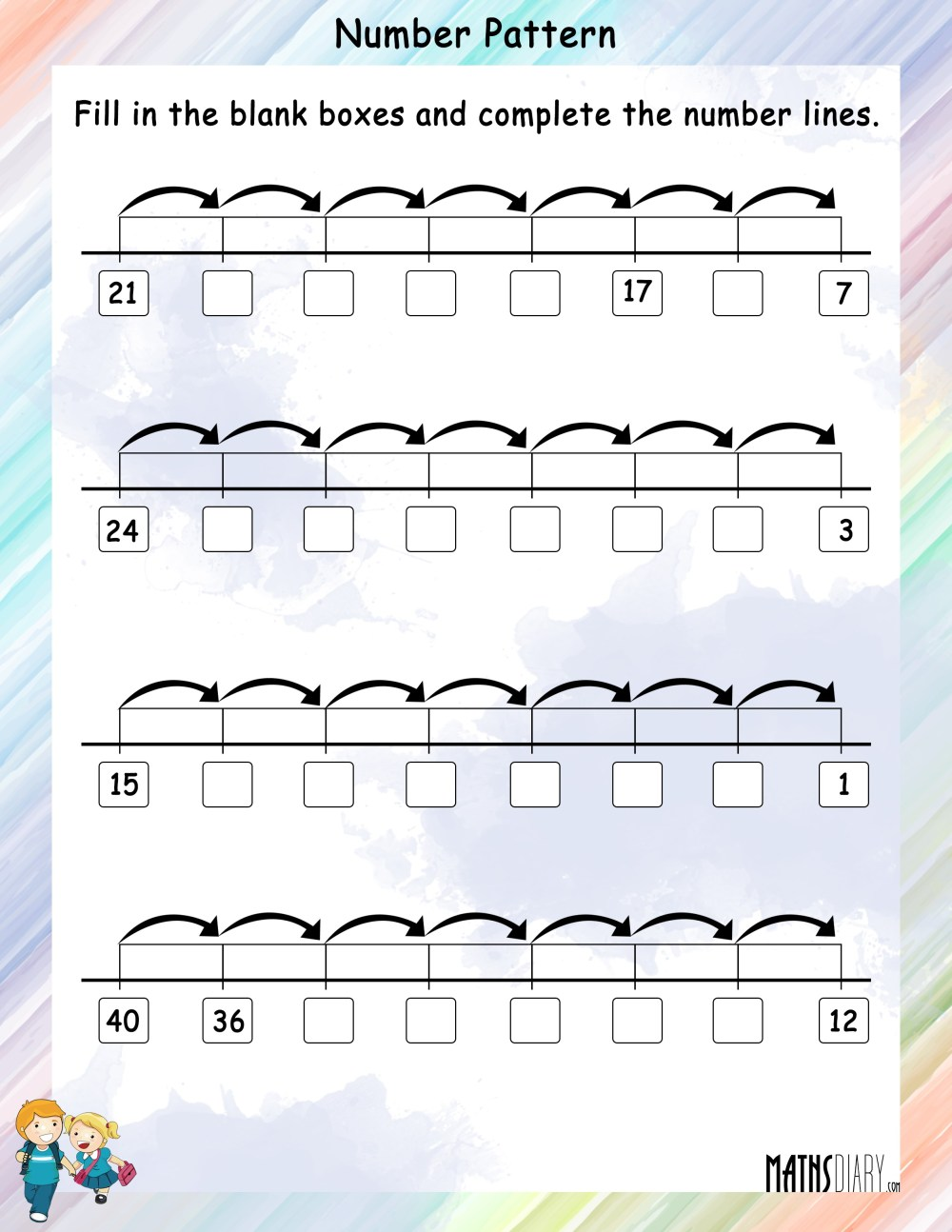medium resolution of Number Pattern on a Number Line - Math Worksheets - MathsDiary.com
