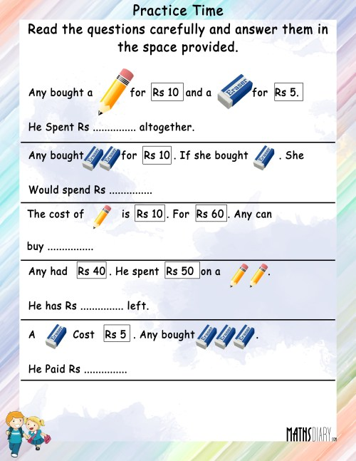 small resolution of Statement sums of Money - Math Worksheets - MathsDiary.com