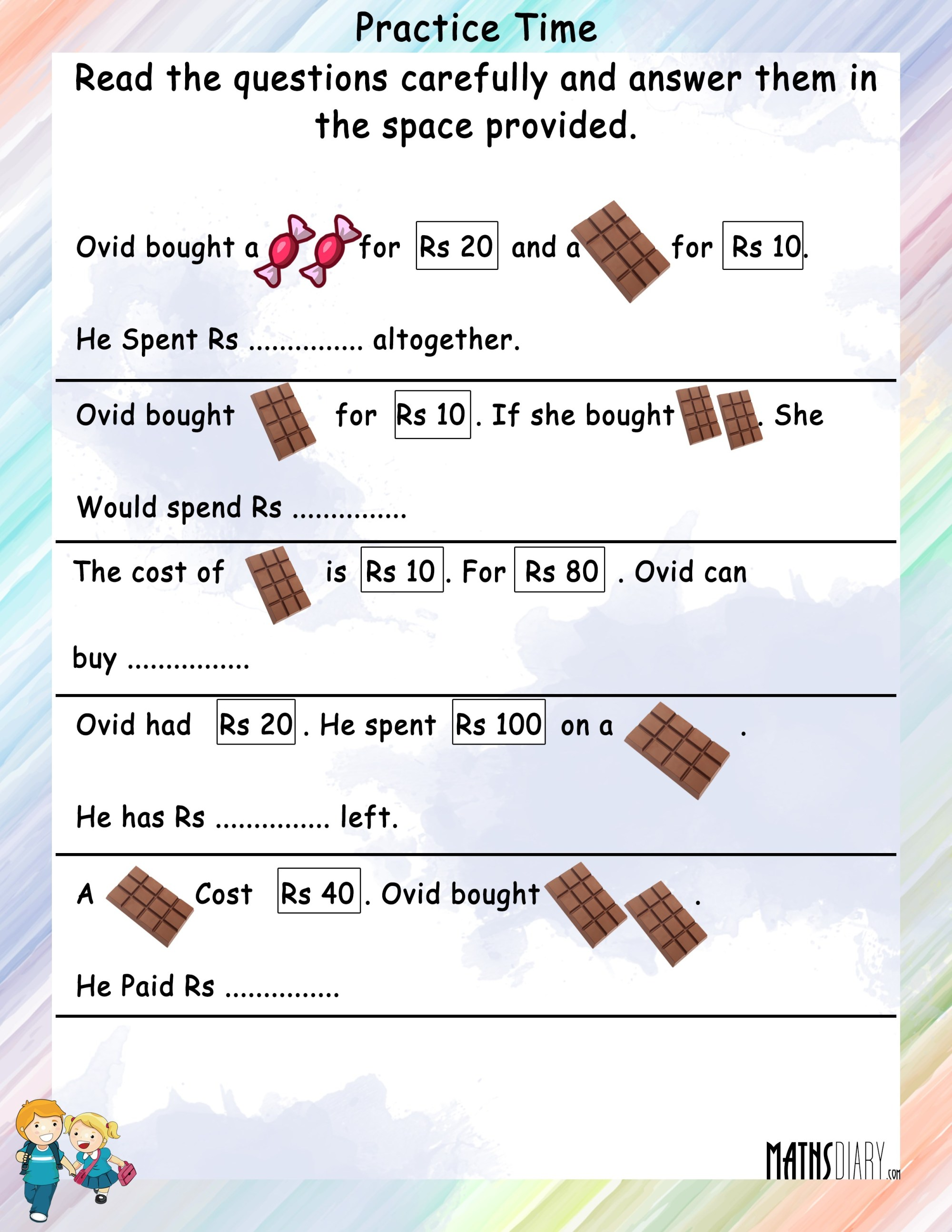 hight resolution of Statement sums of Money - Math Worksheets - MathsDiary.com