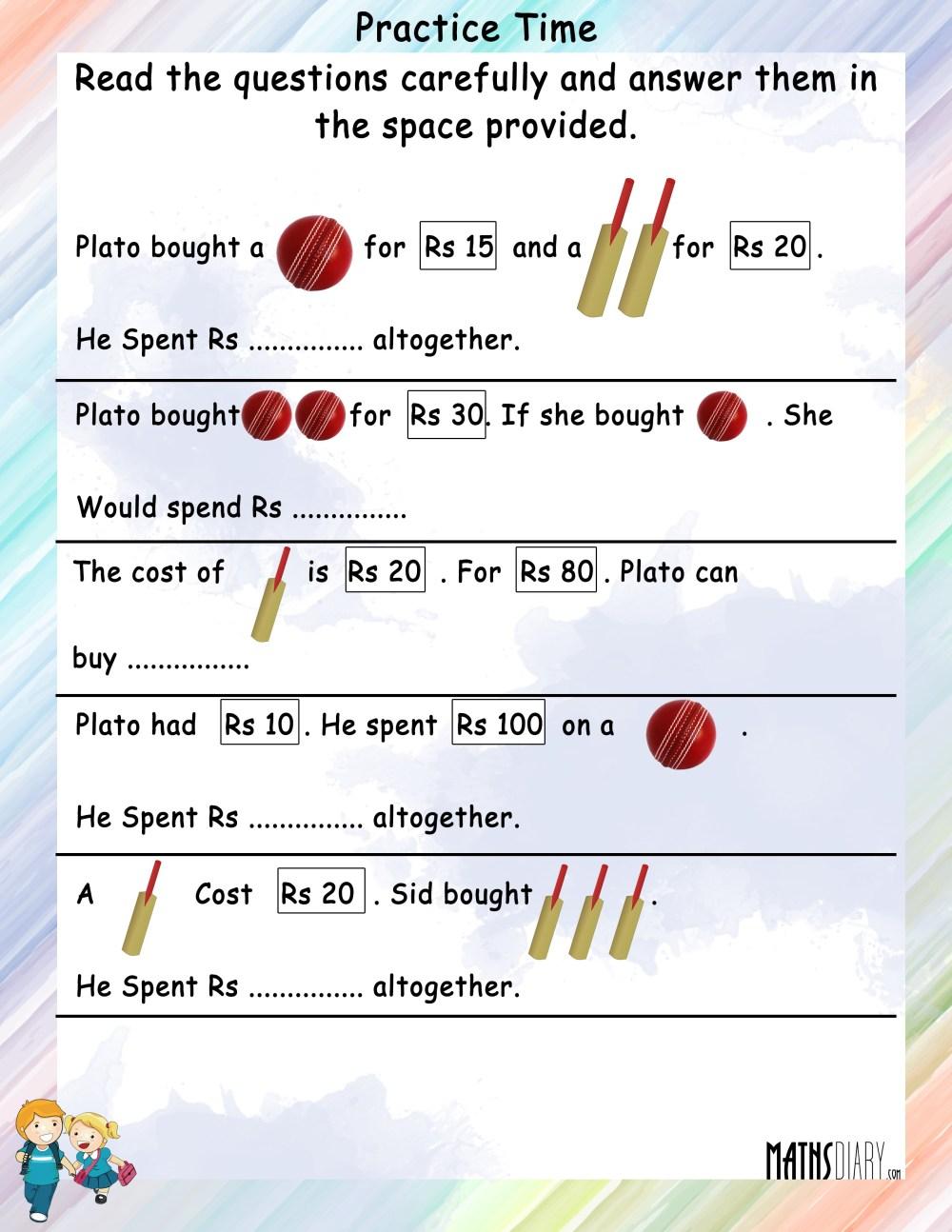 medium resolution of Statement sums of Money - Math Worksheets - MathsDiary.com