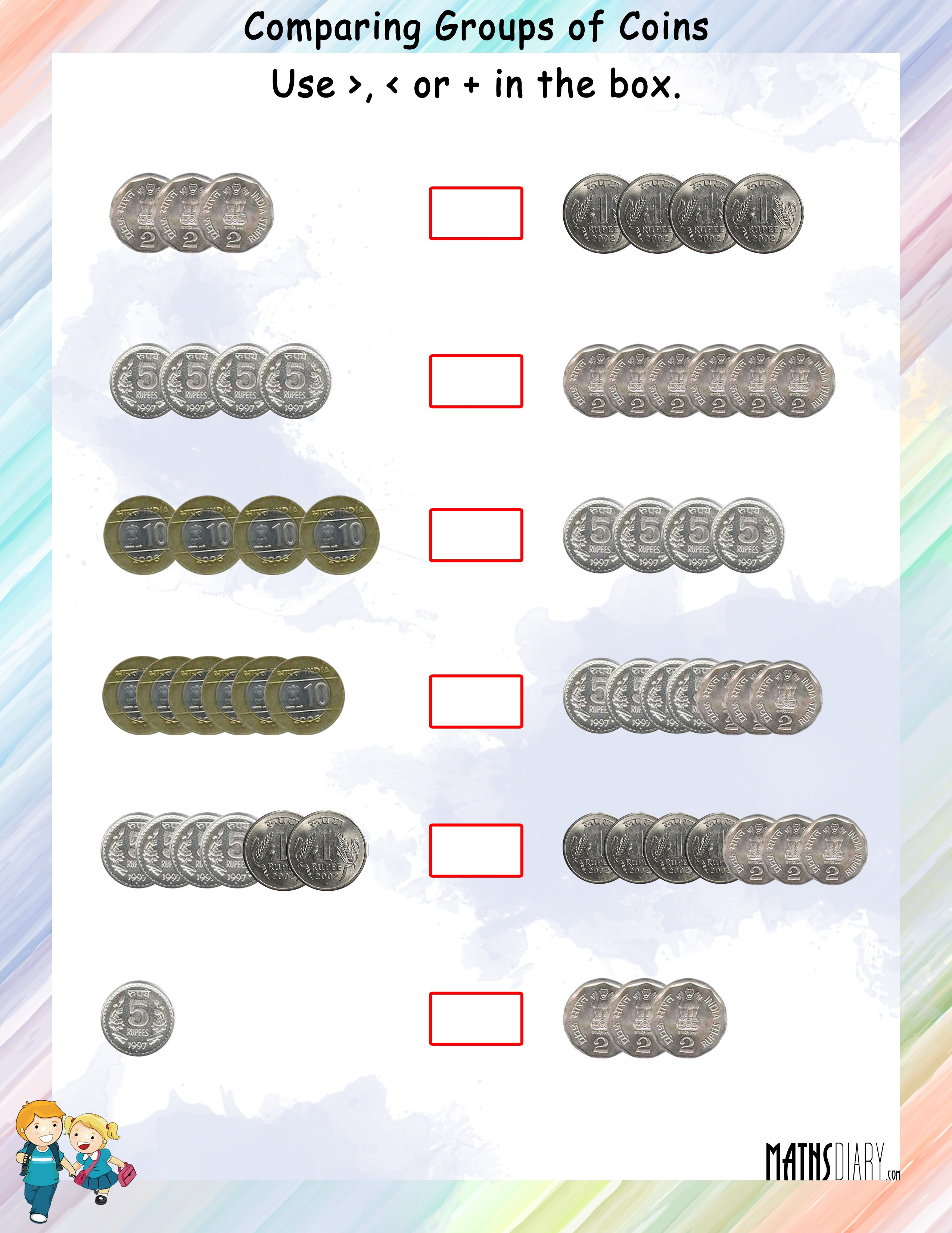First Grade Worksheets Comparing Coins First Best Free