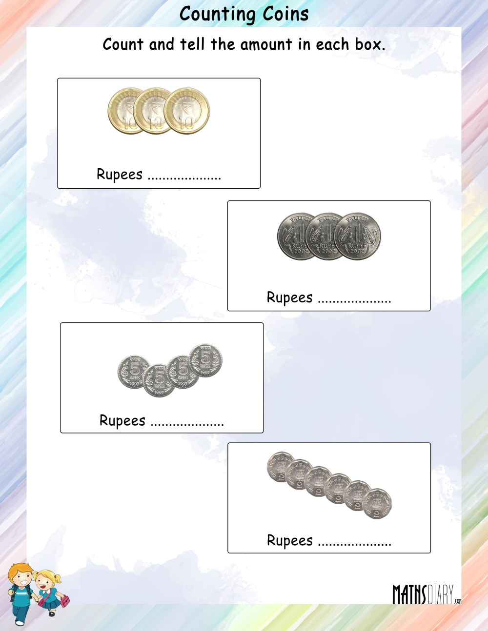 medium resolution of Count the coins and tell the amount worksheets - Math Worksheets -  MathsDiary.com