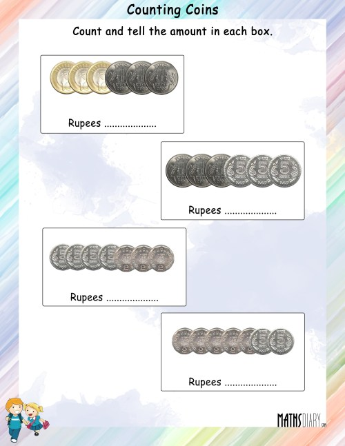 small resolution of Count the coins and tell the amount worksheets - Math Worksheets -  MathsDiary.com