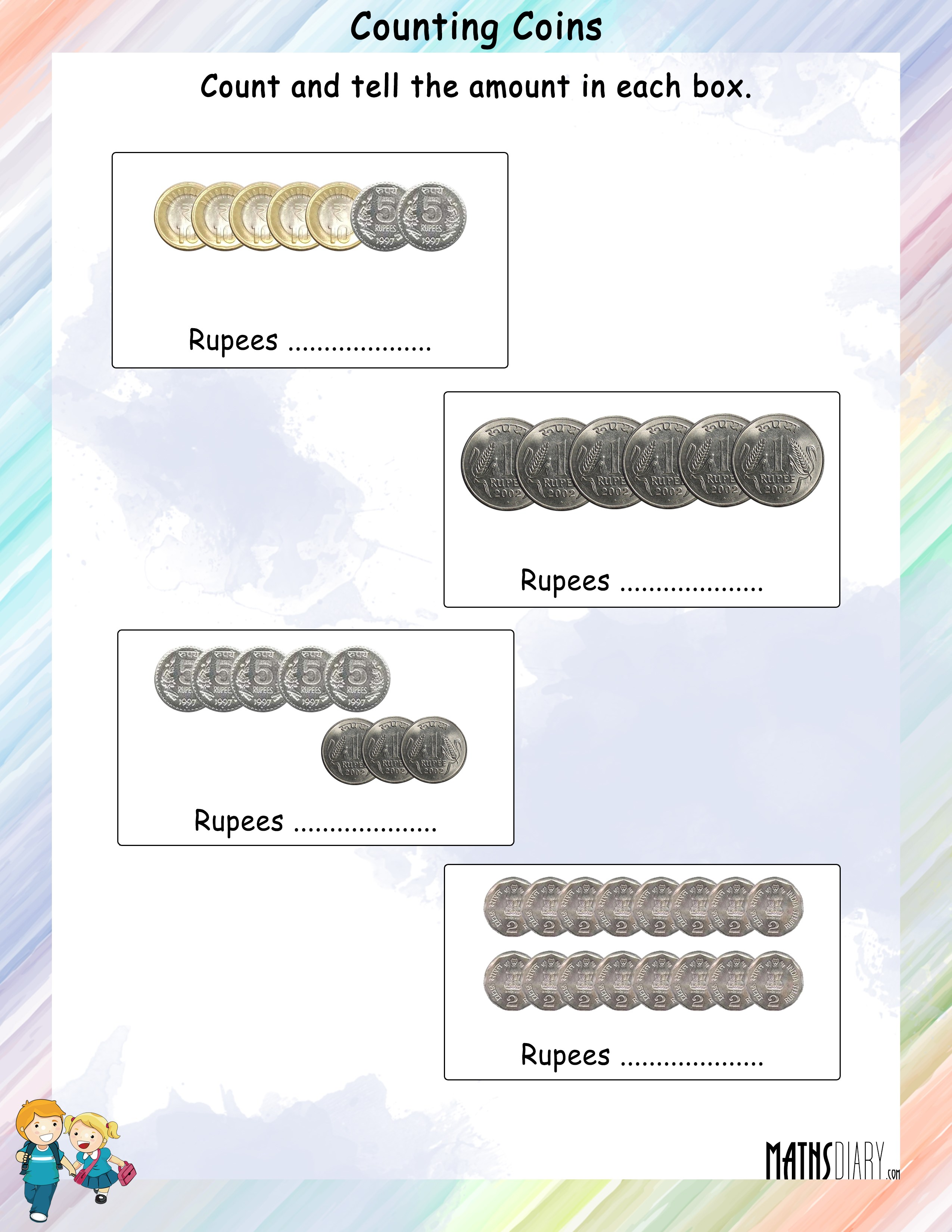 Count The Coins And Tell The Amount Worksheets