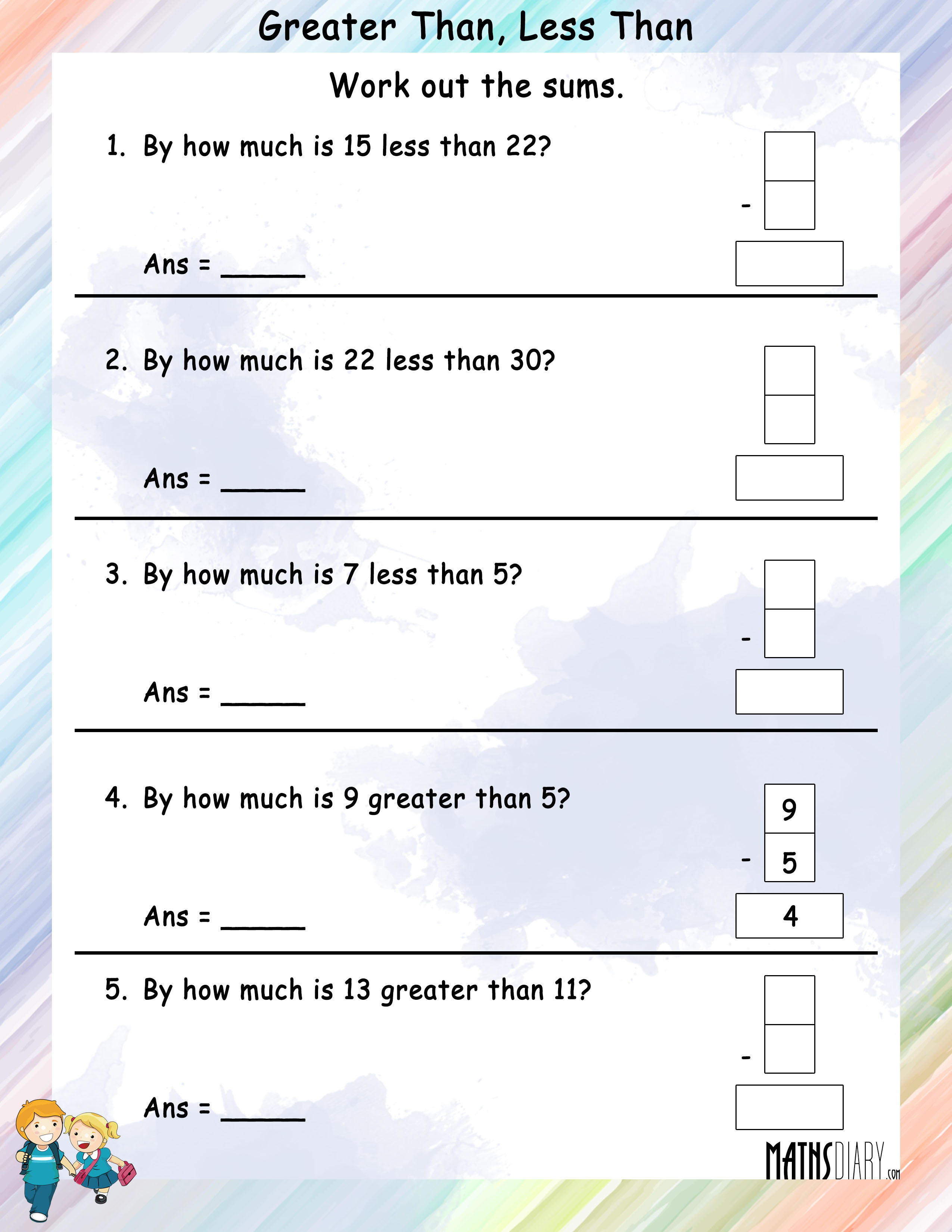 Worksheet Greater Than Less Than Worksheets 1st Grade