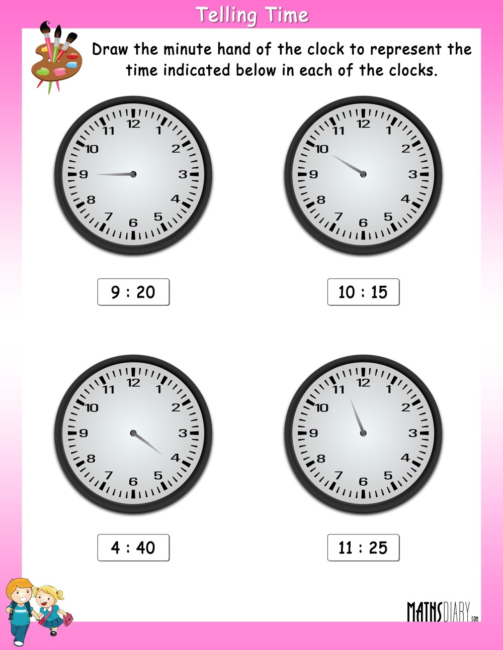 medium resolution of Draw the Minute Hand in the clock to show the indicated time - Math  Worksheets - MathsDiary.com
