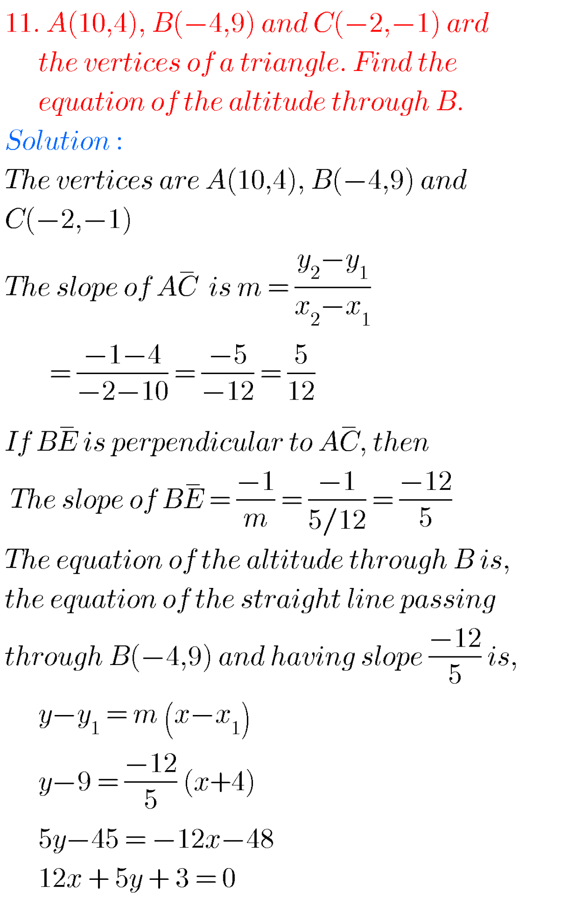 Straight lines,intermediate first year mathematics 1B chapter 3