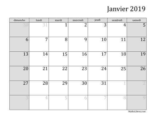 Calendrier Mensuel De LAnne 2019 A