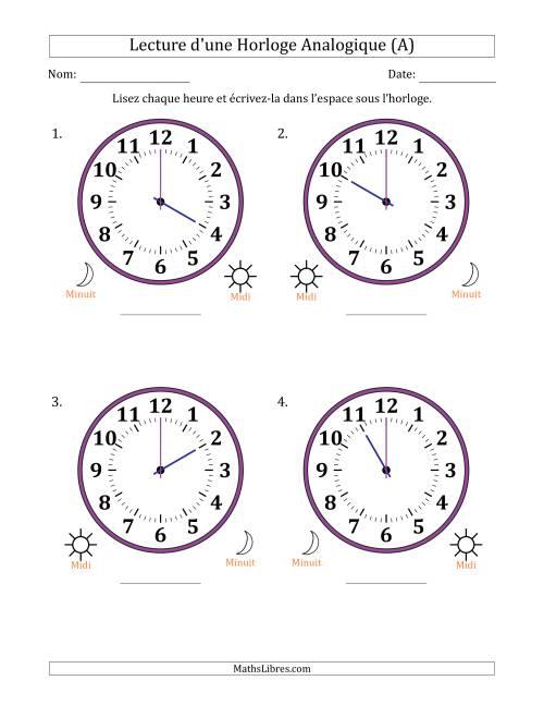 Lecture de l'Heure sur Une Horloge Analogique avec 60