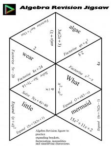 Algebra revision jigsaw
