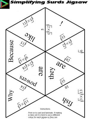 Simplifying Surds Jigsaw