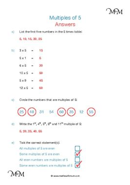 Multiples of 5 worksheet answers pdf