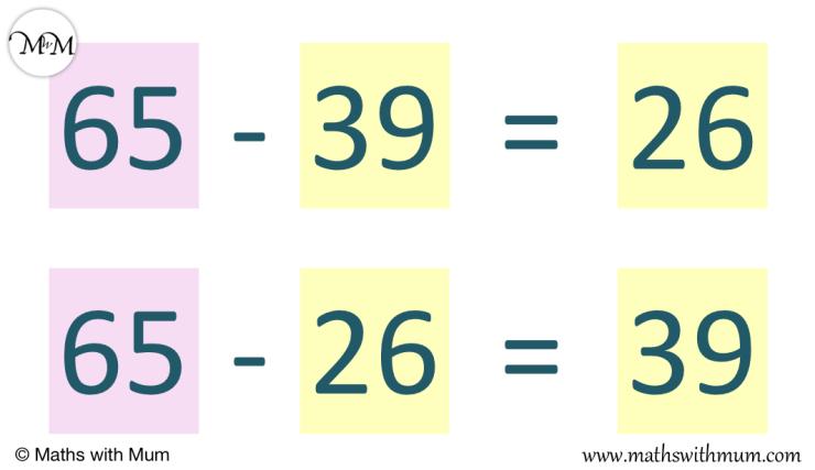 two alternative subtraction sentences