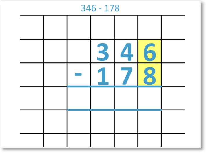 346 – 178 shown as a column subtraction