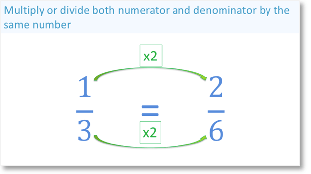 One third is an equivalent fraction to two sixths because the numerator and denominator have been multiplied by the same number`