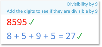 8595 is divisible by 9 using the rule for divisibility by 9