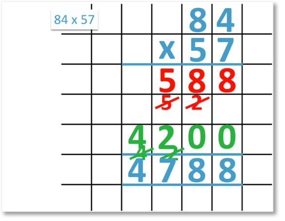 84 x 57 = 4788 using long multiplication