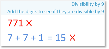 771 is an example that is not divisible by 9