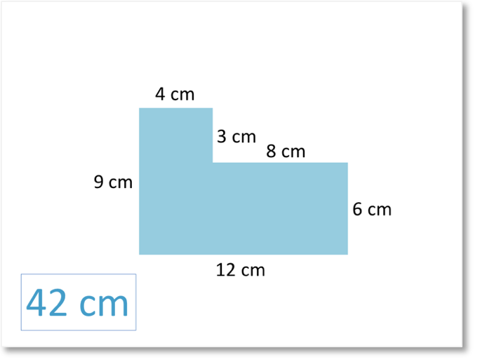 Perimeter of a compound shape with a perimeter of 42cm