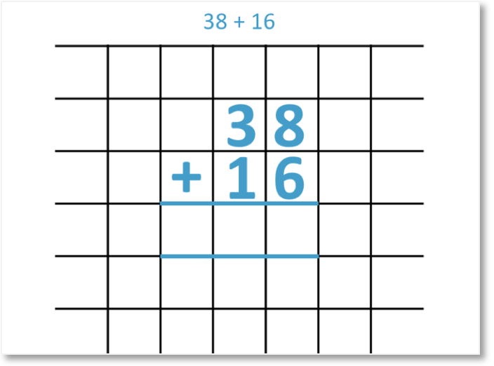 38 + 16 set out as a column addition
