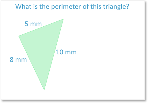 Finding the perimeter of an irregular triangle with side lengths 5mm, 8mm and 10mm