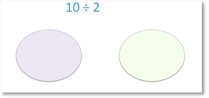 10 divided by 2 shown by equal sharing