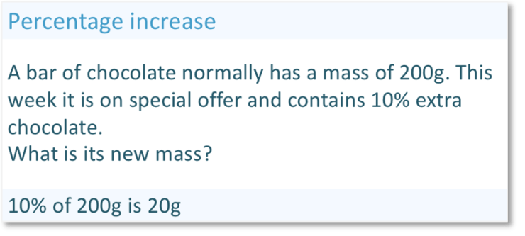 Real life percentage increase worded question, increasing a chocolate bar by 10%