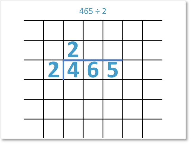 465 divided by 2 using the short division method