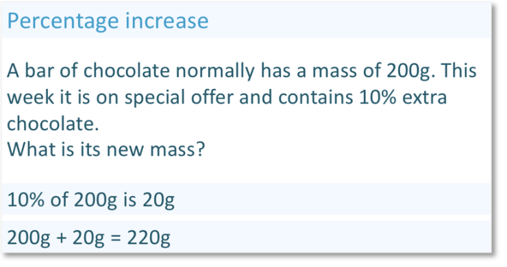 Real life percentage increase question, increasing a chocolate bar by 10%