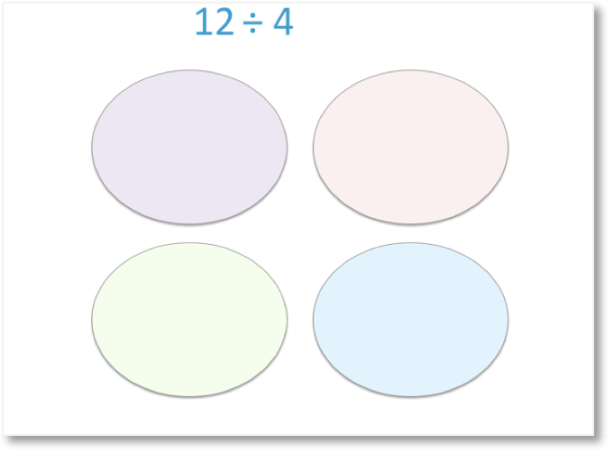 division as sharing method with 4 circles ready to do 12 divided by 4