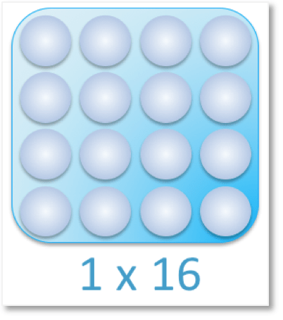a multiplication array with a group of 16 counters arranged as 1 x 16