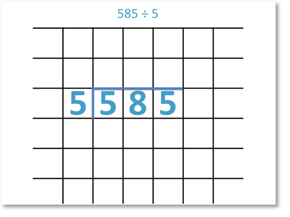 585 divided by 5 shown as short division