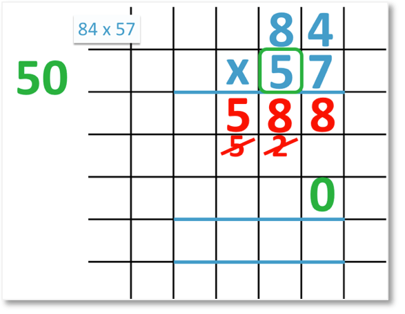 long multiplication writing a zero to hold the place value