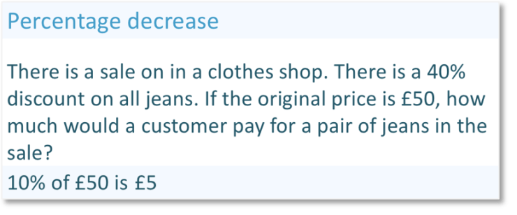 Real life percentage decrease question, decreasing the price of jeans by 40%