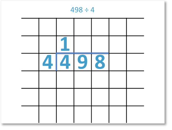 498 divided by 4 set out as a short division
