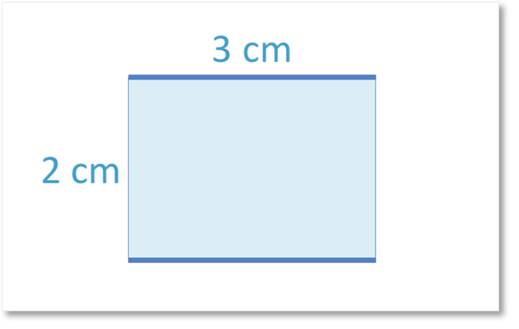 A rectangle of length 3cm and width 2cm