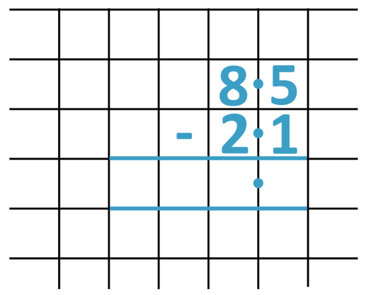 example of subtracting decimals 8.5 - 2.1